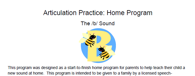 /b/ Articulation Homework-Home Program