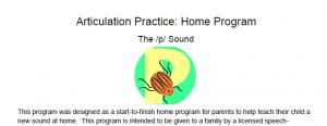 /p/ Articulation Homework: Complete Home Program