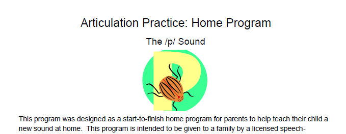 /p/ Articulation Homework: Complete Home Program