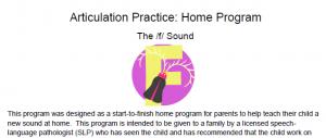 /f/ Articulation Homework: Complete Home Program