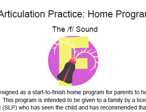 /f/ Articulation Homework: Complete Home Program