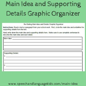 2-1-16 Main Idea and Supporting Details Graphic Organizer