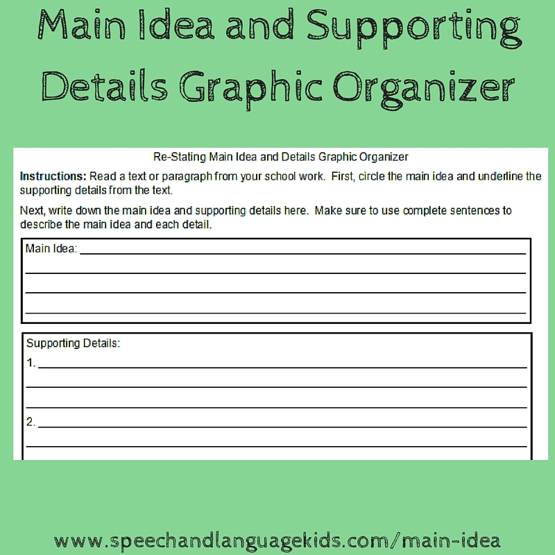 Helping Children to Identify Main Ideas and Supporting Details – Main Idea Details Worksheet